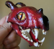 'Dragon' Sculpted/Painted Skull Necklace by TheSilverCaribou