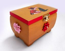 Vintage Girl with Black Cat OOAK handpainted box by DeadLulu