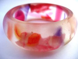 Pink and Purple Flower bangle by TopazTurtle