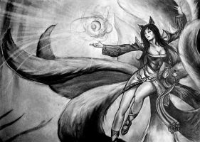 Ahri, The Nine Tailed Fox by DmoreArt