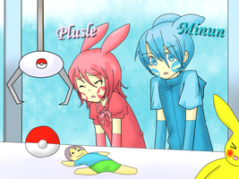 Plusle and Minun by Vocaloid-Mirai