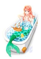 mermaid in the bath by NanaHana773