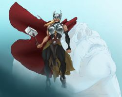 Female Thor vs Frost Giant by Selkirk (COLORS) by carol-colors
