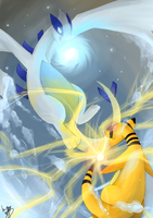 Lugia vs Ampharos by HiHiyori