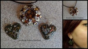 Pendant and Earrings Steampunk style by MrsEfi
