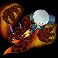 Robot Boy and Volcano Snake by CleverConflict