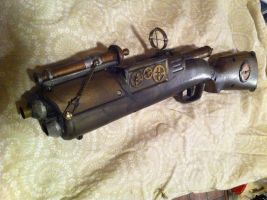 Steampunk shotgun with cannon by cptnmat