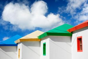 Bright Beach Huts by Spanishalex