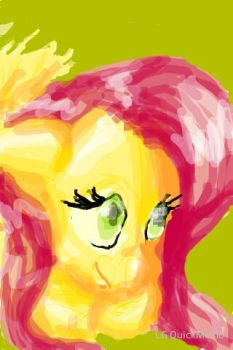 Fluttershy Portrait I did on my phone by BluePaintBottle