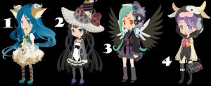 Weird girls Trade To Adopt set 25 CLOSED by AdoptableSoulxHeart