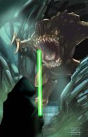 Luke vs. Rancor by AlexAmezcua
