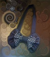 Black bow tie with white spots by RainbowPoof