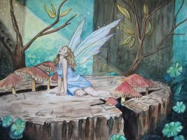 Watercolor Stump Fairy by SOM-Sharina