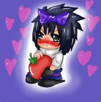 Chibi Sasuke with a tomato by itasasu2002