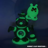 Polymer Clay Alien I Love Monsters Glow LED by KIMMIESCLAYKREATIONS