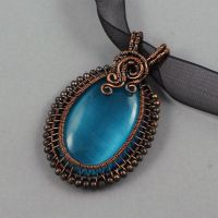 Copper and Blue Glass Cat's Eye Necklace by Gailavira