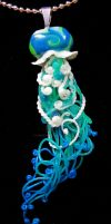 aqua green jellyfish pnedant by carmendee