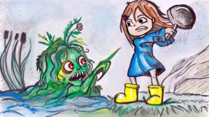 Tiffany aching fighting with a monster (fanart) by MeryMNB