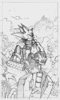 Mecha Sonic Sketch by Nerkin