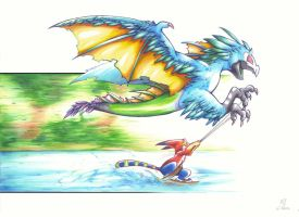 Waterskiing (traditional) by Purple--Spot