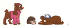 Gravity falls pups and Norman porcupine by FourDirtyPaws