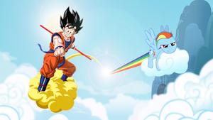 Goku and Rainbow Dash in the clouds by raigafox
