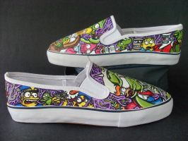 Futurama The Simpsons Crossover Shoes by rachelliles352