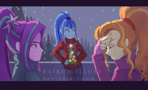 The Holidays with the Dazzlings. by Raikoh-illust