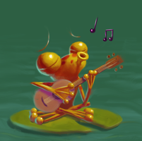 Mr. Frog and his whimsical tune by KikiTheMonkey