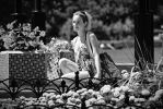 Girl near a flowerbed BW by t-maker