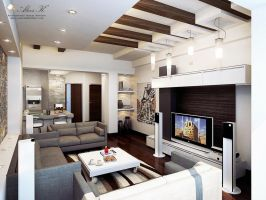 Modern apartment Living rm. by kasrawy