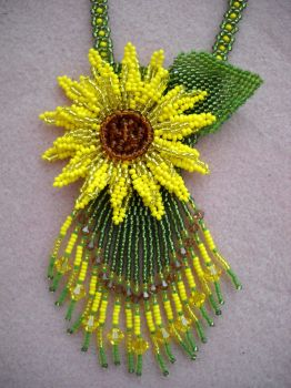 Sunflower pendant by Autumn-beads