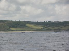 Godrevy Cove from the Sea by foxyfellowuk