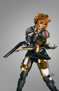 Armoured Gun Girl - Colour by S-E-S