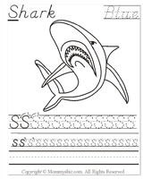 Mommysbiz | S-Shark-Blue Preschool Worksheet by DanaHaynes