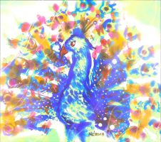 Watercolor peacock by arkandii