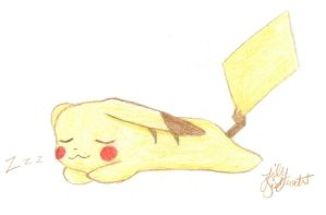 Pikachu Sleeping by Aria-Melodie