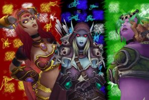 Alexstrasza,Sylvanas and Ysera by XxXMeelyXxX