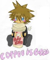 Chibi Sora and coffee by Dreamwish