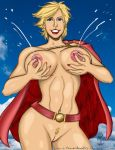 Lactating Power Girl in Color by powerbook125