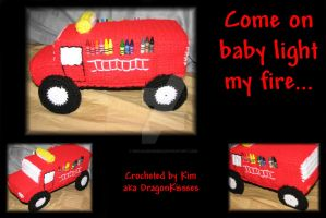 Firetruck Crayon Holder by DragonKissses