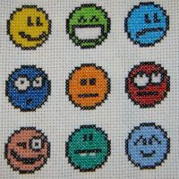 Emoticon cross stitch by behindthesofa