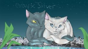 Graystripe and Silverstream by BloodFrostWarriorcat
