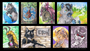 ACEOs and Badges: Creature Feature by MoonsongWolf