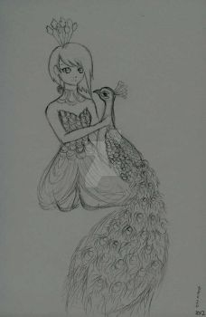 Peahen Princess -sketch- by kawaii-candy-chan