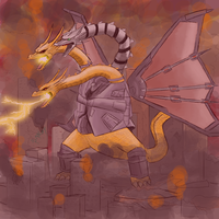 Mecha King Ghidorah's Rage by Rindiny