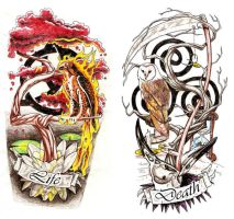Life and Death Calf Tattoos by Omedon