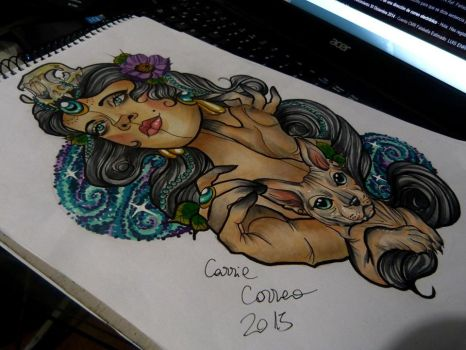 shaman cat lady my desing neotraditional by keper7