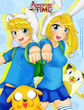 Finn and Jake with Fionna and Cake by FlyingCatsandGlitter