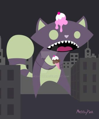 zombie kitty need ice cream by messypink